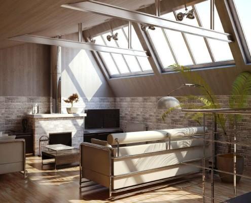 металлические потолочные балки в стиле лофт