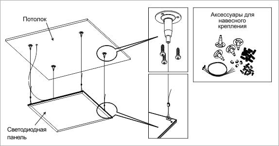 Установка светодиодной панели LP на тросах