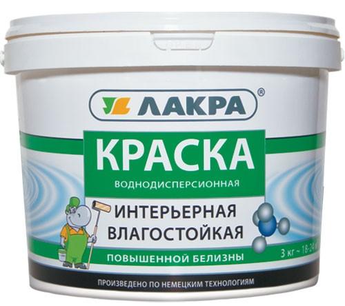 Краска латексная интерьерная влагостойкая Белый ЛАКРА 3 кг