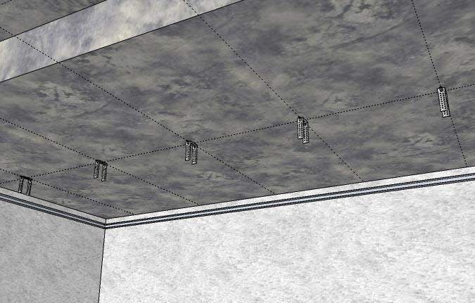 Расположение подвесов на потолке