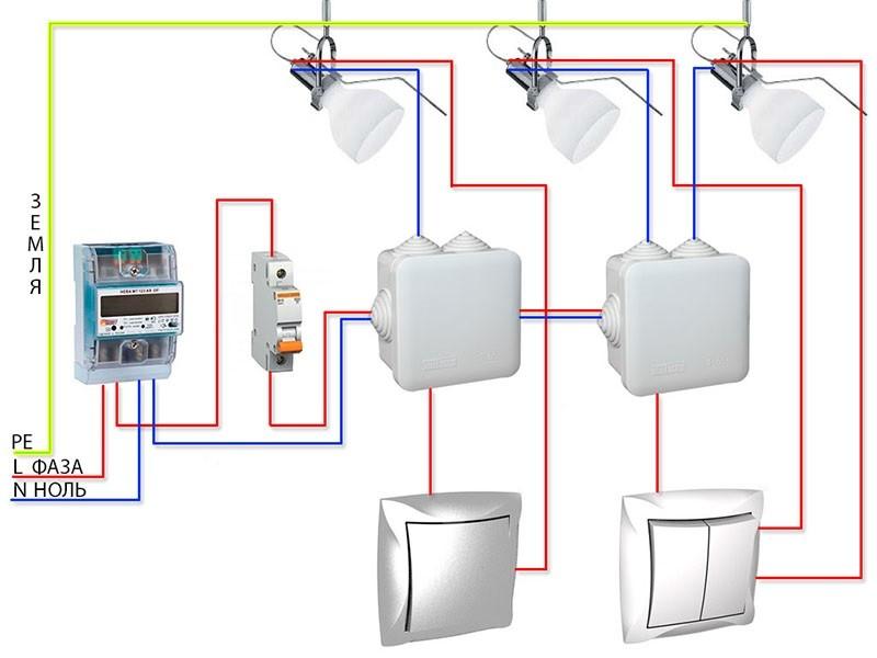 Схема подключения наружных светильников