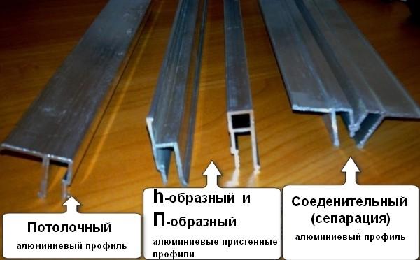 Виды профиля для натяжных потолков (алюминий)