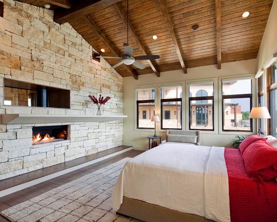 узкие балки на потолке в интерьере спальни в стиле лофт