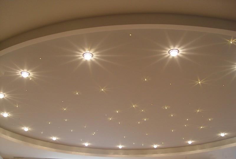 точечное освещение +звездное небо натяжного потолка
