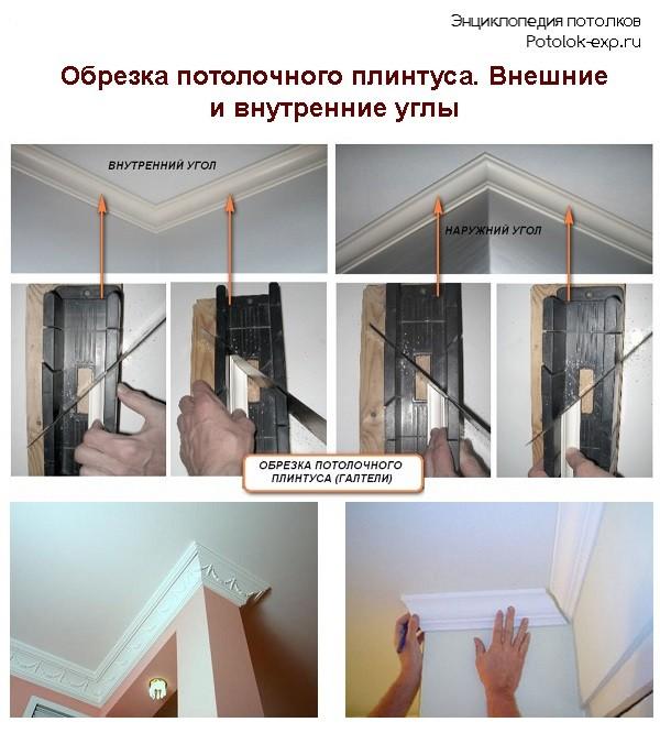 Обрезка потолочного плинтуса. Внешние и внутренние углы