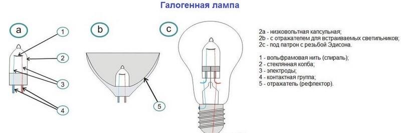 Классификация ламп галогеннового типа