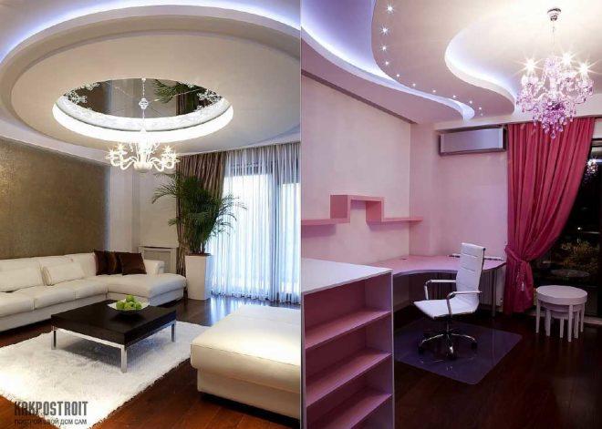 Комбинированный потолок: натяжной с подвесным