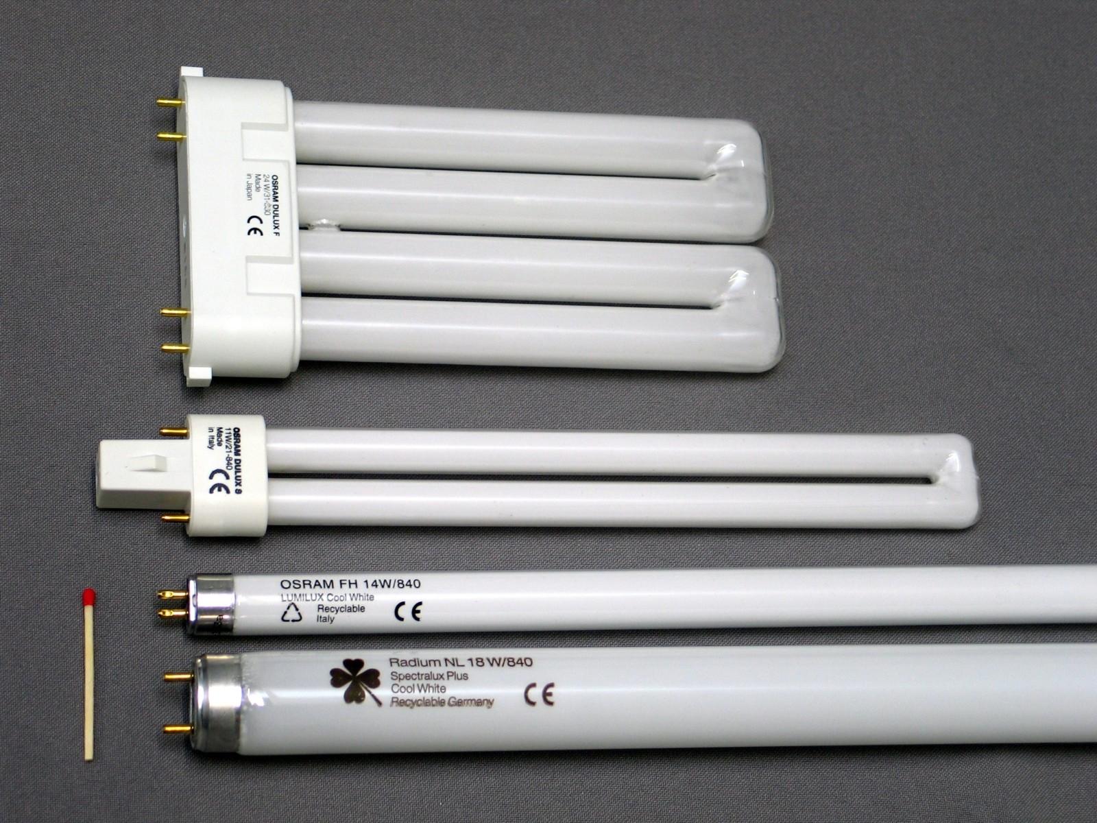 Различные виды люминесцентных ламп