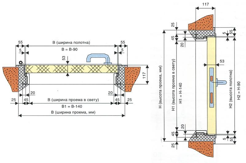 схема монтажа противопожарного люка
