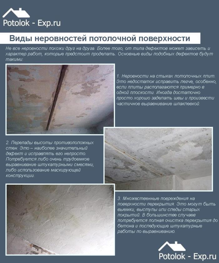 Виды неровностей потолочного покрытия