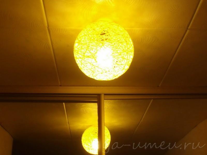 плафон из ниток для светильника на потолке