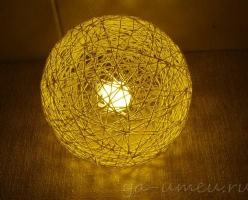 плафон из ниток для светильника на стене
