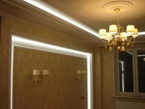 Монтаж светодиодной ленты на карниз, подсветка потолка и стены